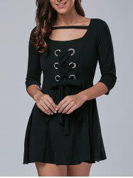 3/4 Sleeve Lace-Up Metal Embellished Dress