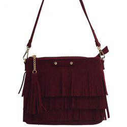 Metal Tassels Zipper Crossbody Bag -