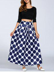 High Waist Polka Dot Maxi Skirt - PURPLISH BLUE