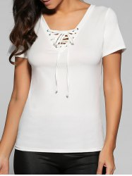 Lace-Up Short Sleeve T-Shirt -