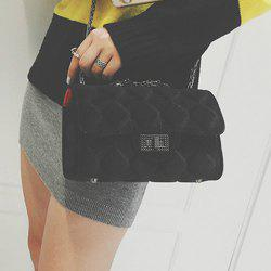 Chain Twist-Lock Closure Argyle Pattern Crossbody Bag