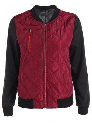 Padded Two Tone Quilted Bomber Jacket