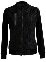 Padded Two Tone Bomber Jacket - BLACK