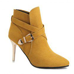 Pointed Toe  Buckle Strap Stiletto Heel Boots - YELLOW