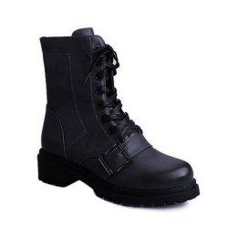 Vintage Buckle Lace-Up Combat Boots -