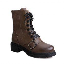 Vintage Buckle Lace-Up Combat Boots