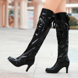 Back Lace-Up Patent Leather Thigh Boots -
