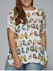 Plus Size Night Owl Print Patchwork Furcal T-Shirt - WHITE 3XL