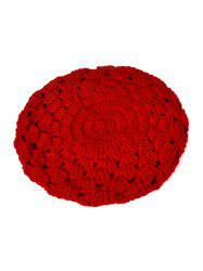 Chaud évider Crochet Knit Beret - Rouge