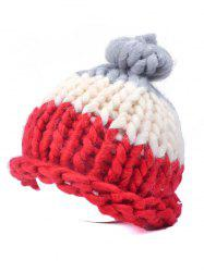 Warm Color Block Coarser Knit Snow Hat - RED