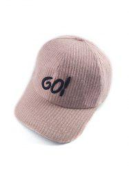 Autumn GO Embroidery Corduroy Baseball Hat - PINK