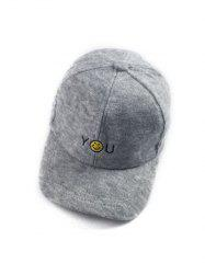 Autumn You Smile Face Embroidery Knit Baseball Hat -