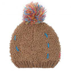 Winter Casual Colorful Woolen Yarn Ball Thicken Knit Beanie -