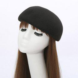 Winter Casual Half Melon Shape Felt Hat - BLACK
