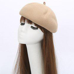 Casual Retro Pumpkin Shape Felt Artist Beret French Hat - OFF-WHITE