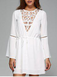 Lace Trim Drawstring Waist Dress -