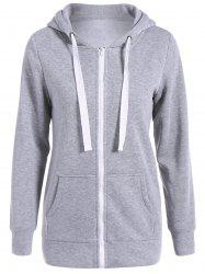 Autumn Wide Drawstring Zipper Up Hoodie