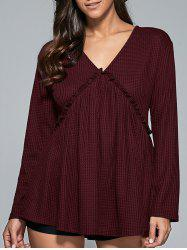 Falbala Patchwork Lace-Up Blouse -