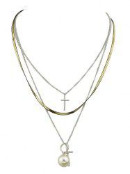 Faux Pearl Cross Layered Pendant Necklace