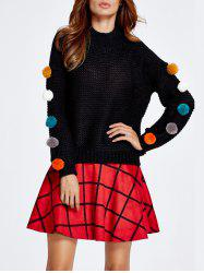Pompon Spliced Sweater and Plaid Skirt Set -