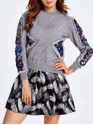 Sequined Sweater and Feather Skirt Set -