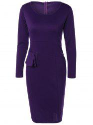 Invisible Zipper Design Knee Length Pencil Dress