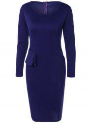 Long Sleeve Knee Length Pencil Tight Dress -