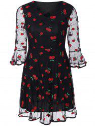 Bell Sleeve Vintage Mesh Printed Dress - BLACK XL