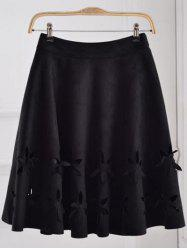 Suede Hollow Out A-Line Skirt -