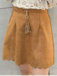 Scalloped Suede Drawstring Tassel Skirt - CAMEL
