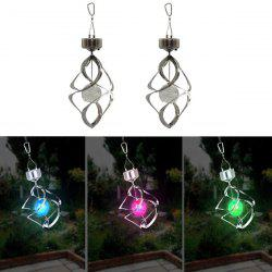 LED Solar Household Wind Turn Light Decorative Colorful Diamond Windbell Lamp -