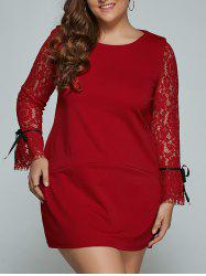 Lace Splicing Plus Size Mini Shift Dress -