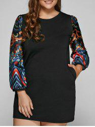 Tribal Print Plus Size Mini Lace Dress -