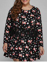 Polka Dot Floral Print Plus Size Mini Dress
