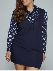 Lip Print Plus Size Mini Dress