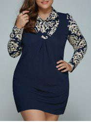 Blue and White Porcelain Print Plus Size Mini Dress