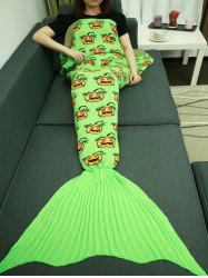 Halloween Pumpkin Pattern Knitted Wrap Mermaid Tail Blanket - TURQUOISE