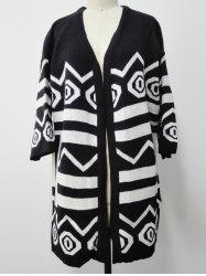 Two-Toned Striped Knitted Cardigan -