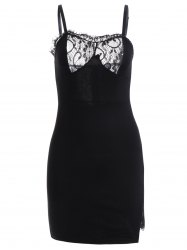 Spaghetti Straps Lace Spliced Cut Out Bodycon Dress -