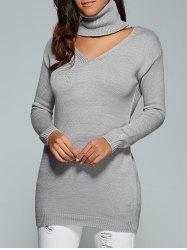 Cutout Turtle Neck Long Sweater -