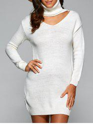 Cutout Turtle Neck Long Sweater - WHITE ONE SIZE