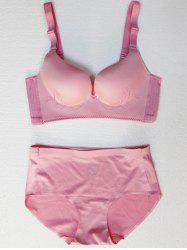 Seamless Embroidered Wire Free Bra Set -