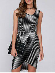 Asymmetric Sleeveless Striped Dress - STRIPE
