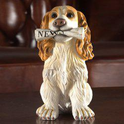 Home Table Decoration Dog Animal Statue Craft - WHITE AND YELLOW
