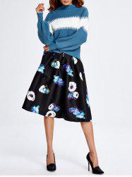 Color Block Sweater and Midi Print Skirt Set -