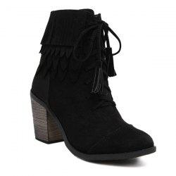 Chunky Heel Suede Fringe Boots