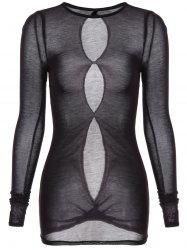 Round Neck Long Sleeve See-Through T-Shirt -