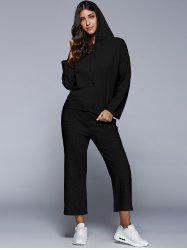 Long Sleeve Hoodie With Scrub Pants Twinset - BLACK