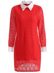 Long Sleeve Spliced Beaded Lace Dress