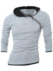 Slim-Fit Side Zipper Design Pullover Hoodie - BLACK AND GREY
